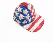 USA Hat / America Baseball Cap / Sequin Hat / 4th of July / 90s Hat
