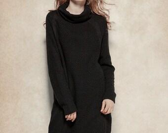 Wool Dress in Black, Long Winter Dress in Grey, Asymmetrical Caftan Dress, Cowl Neck Black Dress, Wool Sweater Dress, Woo Tunic Dress