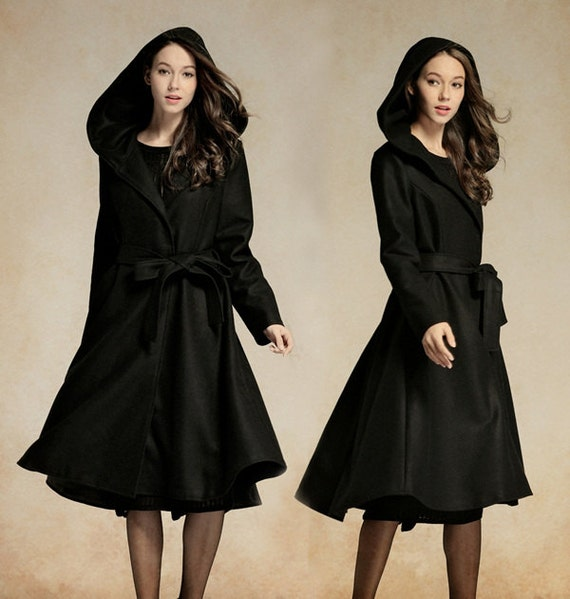 Hooded Wool Coat In Black / Long Trenchcoat Jacket / Cashmere