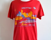 1988 Cincinnati Bicentennial T-shirt, 1788-1988, Graphic Screen Printed Tee, Cincinnati Skyline, City View, Screen Stars
