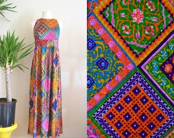 Colorful 1960s Psychedelic Patchwork Dress, Sleeveless Maxi Dress, Silky Empire Waist Dress