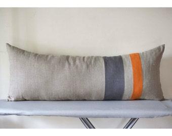 Lumbar pillow cover with grey and burnt orange sewn on it - linen lumbar - long lumbar - color blocked throw - decorative cushion case 14x36