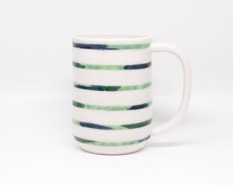 large navy green brushstroke stripe mug