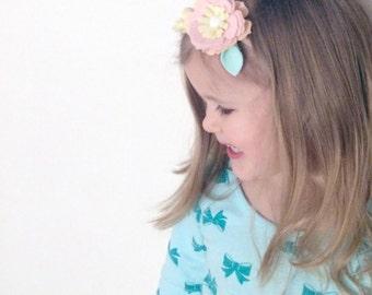 Felt Flower Headband. Baby Headband. Flower Cluster. Flower Crown. Pastel Blooms. Wool Felt Flowers. Pink Peach Mint Yellow Flowers   HB1316