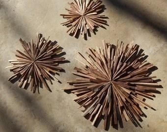 MidCentury Walnut Wood Starbursts (set of 3) Mid Century Modern Art, MADE TO ORDER