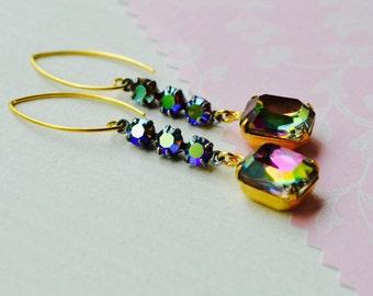 Rainbow Vitrail Earrings, Glitzy Glass Earrings, 24k Gold Vermeil Earrings, Vintage Style Art Deco Jewelry, Evening Earrings, Drop Earrings