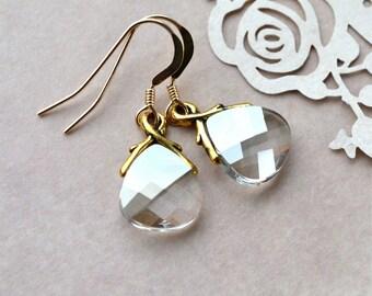Swarovski Earrings, Crystal Earrings, Briolette Earrings, Gold Fill Earrings, Crystal Dangle Earrings, Girlfriend Gift, Jewelry, UK shop