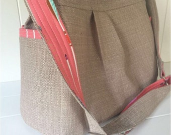 Camel Linen Look Bag with Coral Arrow Lining