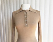 Vintage 60s golden Lycra blouse/ Full fashioned Jump Shirt/ sparkly lame shirt