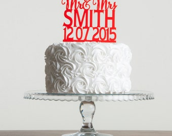 Personalised Surname and Date Cake Topper Wedding/Anniversary Mr & Mrs Cake Decoration
