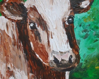 Original Acrylic Painting Cow in Meadow Gallery Wrap Stretch Canvas 16x20 #2 Cowboy Cowgirl Ranch Western Decor Artist Signed