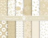Wedding Digital Paper, Champagne Digital Paper Pack, Cream Wedding Scrapbooking - INSTANT DOWNLOAD  - 1990