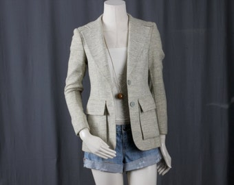 Grey Jacket tweed coat elbow patches Gerard Martin size XS or S extra small or small