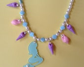 Sea Charms - Pastel Rainbow Shell and Glitter Mermaid Charm Stretch Necklace with Faux Pearls