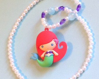 Ariel - Mermaid Necklace with Heart Jewels, Translucent Beads, and Faux Pearls