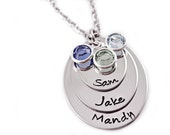 Personalized Layered Oval Necklace - Hand Stamped - Stacked Necklace - Mommy Necklace - Kids Names Birthstones - Personalized Jewelry - Mom