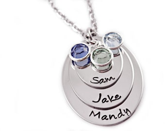 Personalized Layered Oval Necklace - Engraved - Stacked Necklace - Mommy Necklace - Kids Names Birthstones - Personalized Jewelry - Mom