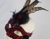A Mourning Bird Masquerade Mask Steampunk Feather Accented Red and Black Brocade Velvet  Half Face Asymetrical Fabric Burlesque Halloween