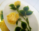 FREE Shipping Vintage Lucite Rose Brooch Reverse Carved Plastic Yellow Roses Flower Intaglio Pin Marked Tag Gem Tone