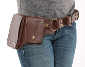 Hip Pack Leather Utility Belt - Dark Brown (Largest pockets of most any belt on the market, great for phones, functional and beautiful)