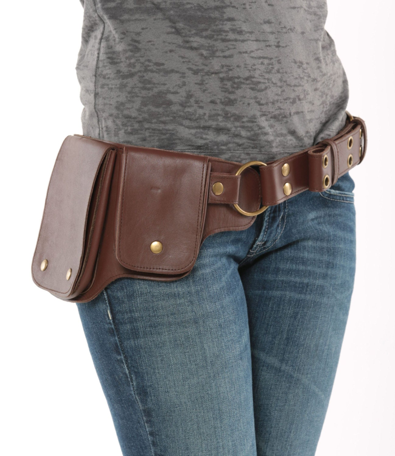 hip pack leather utility belt brown largest pockets of