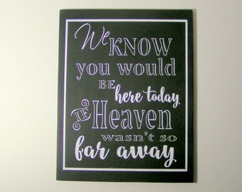 Wood Wedding Sign/If Heaven wasn't so far away Remembrance Sign/Reception Hall/Church Sign/Holiday Dinner/Hand Painted/