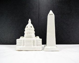 Vintage Salt + Pepper Shakers, Capitol Building, Washington Monument, Washington DC Souvenir, Kitchen Retro Salt Pepper Collection, Travel