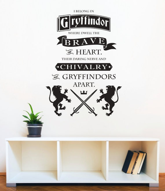Harry Potter Gryffindor Brave at Heart Quote by DanaDecals