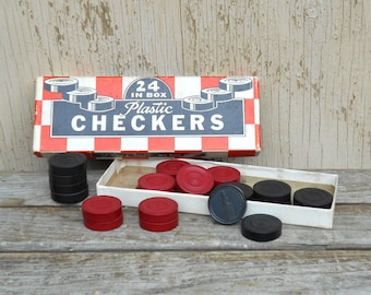 Vintage Plastic Checkers - Wooden Checker Set in Box - AS IS