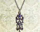 Victorian or Renaissance Style Silver Chandelier Necklace with Purple Crystals