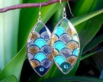Mermaid Scales Earrings, Blue and Gold Mermaid, 14K Gold Filled, Swarovski Crystal