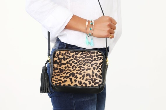 7c5396c92eac Shoulder Leopard Bag; Leopard Crossbody Bag; Small Leopard Bag; Leather  square bag;
