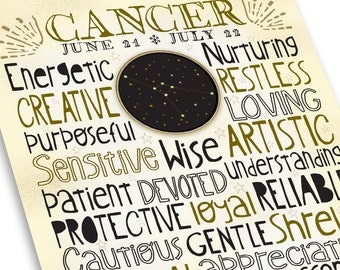 Entertaining Cancer Zodiac Traits Wall Decor Print  - Constellation Star Map - Unique Poster Style - Neutral Colors