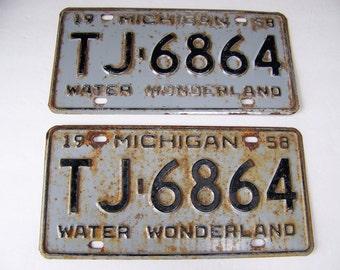 Vintage Michigan License Plates (set of 2) Water Wonderland 1958.Automobile License Plates.Antique License Plates.Rusty Metal.Car Lover Gift