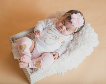 Newborn Girl Coming Home Outfit Personalized Pink Gold Glitter Heart Headband Leg Warmer Baby Girl Outfit Clothing Gift Hospital Take Home