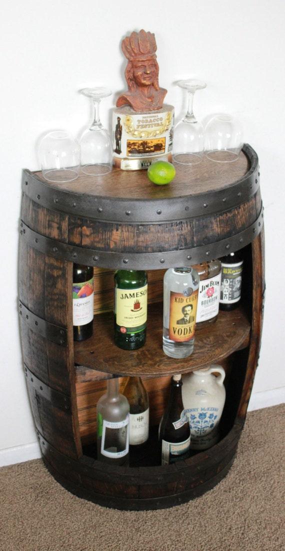 Whiskey barrel half bar large 53 gallon bourbon barrel wine for How to make a wine barrel bar