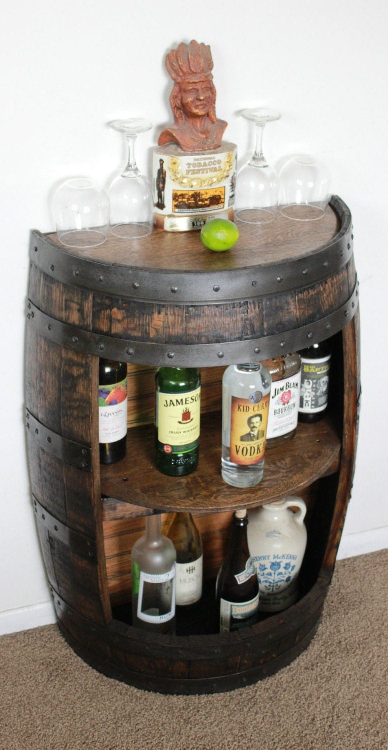 Liquor Cabinet Bar Furniture #36: Whiskey Barrel Half Bar Large 53 Gallon, Bourbon Barrel, Wine Barrel Shelf, Liquor Cabinet, Home Bar, Man Cave, Rustic, Reclaimed, CraftBeer