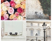 Paris photos set of four, square photo set, 8x8, travel photograph, French roses, Bicycle, Louvre lamp post, Mint green door, photo gift set