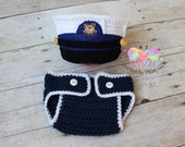 Original Design Crochet USCG dress blues set, Hat and Diaper Cover, United States Coast Guard, Baby Photography prop - Made to order