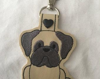 Pug Key Fob - Cute Key fob - vinyl keychain - pet key fob - Pug Key Chain