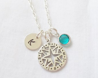 Personalized Compass Necklace ~ Sterling Silver, Hand Stamped, Initial Jewelry, Birthstone, Enjoy the Journey ~ MADE TO ORDER