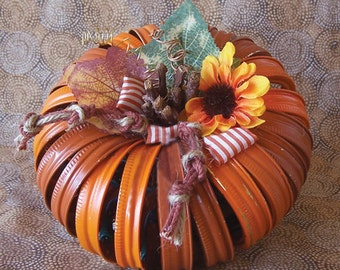 Fun Fall Harvest Canning Rings Pumpkin with lights Orange and Rust