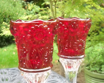 Vintage Votives, Beautiful Red, Pressed Glass, Floral Impressions, Gorgeous, Two Available, Selling Individually