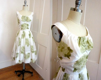 60s Green and White Sun Dress with Matching Sweater - Sheer Floral Fabric - Cinched Waist - Full Skirt - 1950s -
