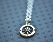 Compass Necklace - Sterling Silver Compass Necklace - Nautical Compass Necklace - Aldari Jewelry Designs