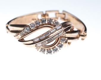 Trifari Classic Gold Tone Segmented Baguette Rhinestone Bracelet Bangle Mid Century