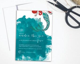 "Mermaid Birthday Party Invitation //  Printable or Printed custom 5x7"" invitation"