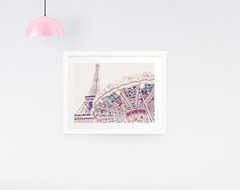 Paris photography print - Paris carousel print - Merry-go-round print - Eiffel Tower Print