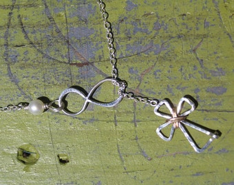 Infinity Cross Lariat, Infinity Necklace, Cross necklace, Silver Cross necklace