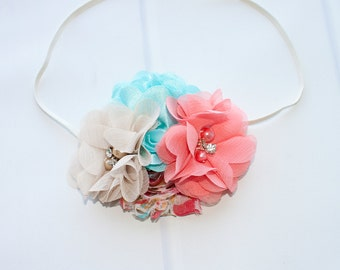 Fields of Love and Grace - headband in coral, aqua, tan, pink and hints of golden mustard yellow (RTS)